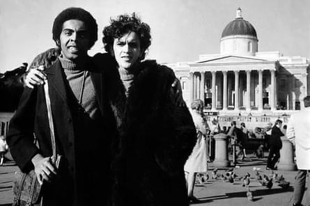 Brazilian music legends Caetano Veloso, right, and Gilberto Gil in Trafalgar Square during their exile in London.