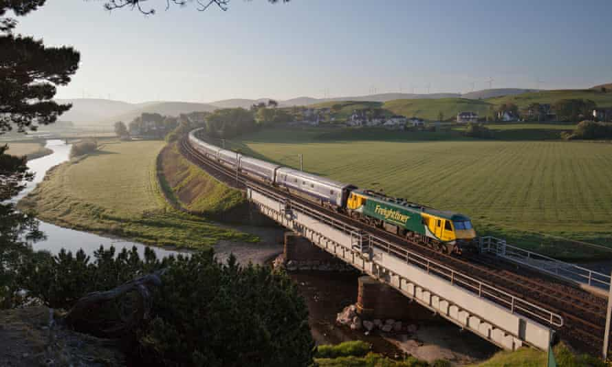 The London Euston to Glasgow and Edinburgh Caledonian sleeper crosses the River Clyde at Crawford