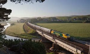 The Caledonian sleeper crosses the Clyde at Crawford, Scotland.