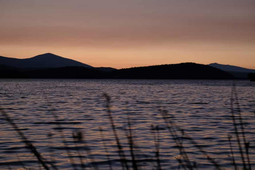 The Upper Klamath Lake in Klamath Falls, Oregon, at sunset.