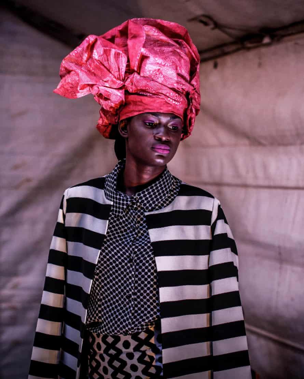 A model backstage during Dakar fashion week, June, 2016
