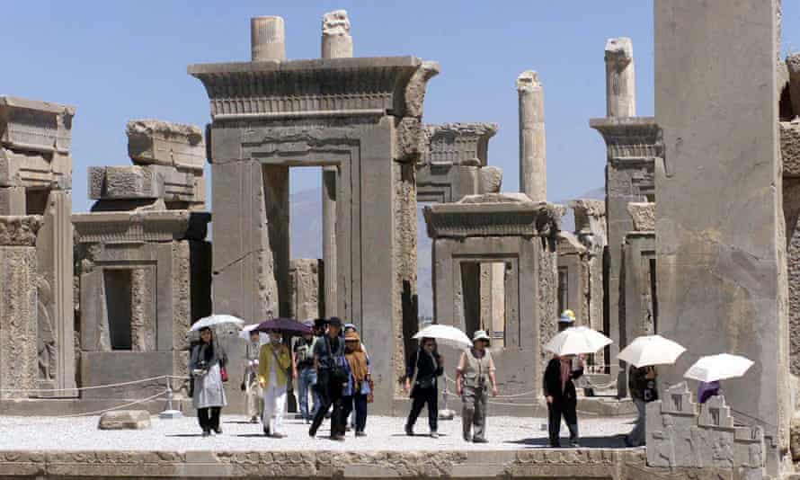 A group of Japanese tourists at Persepolis.
