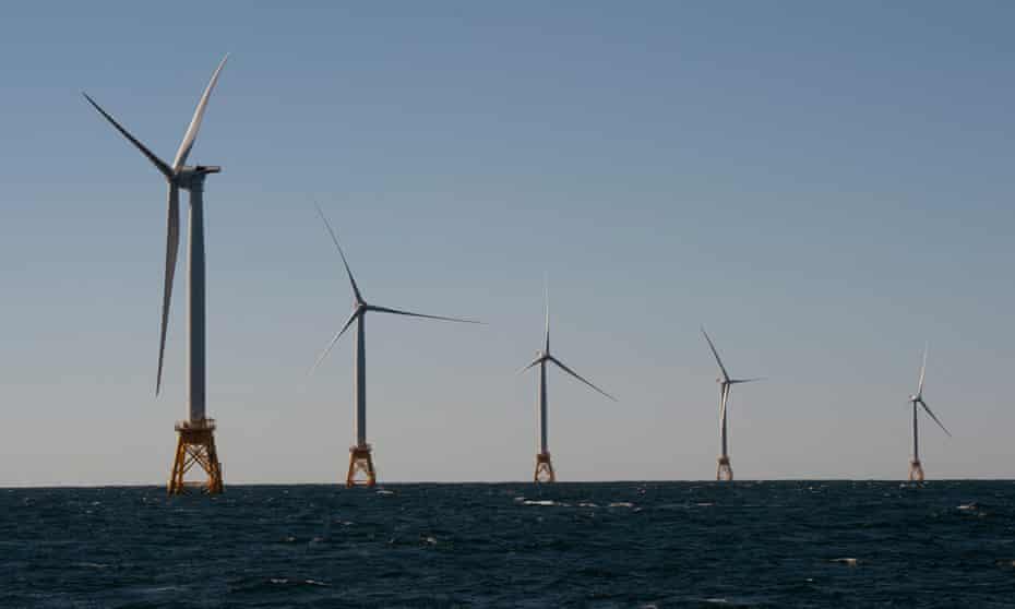 The wind turbines of Block Island off the coast of Rhode Island.