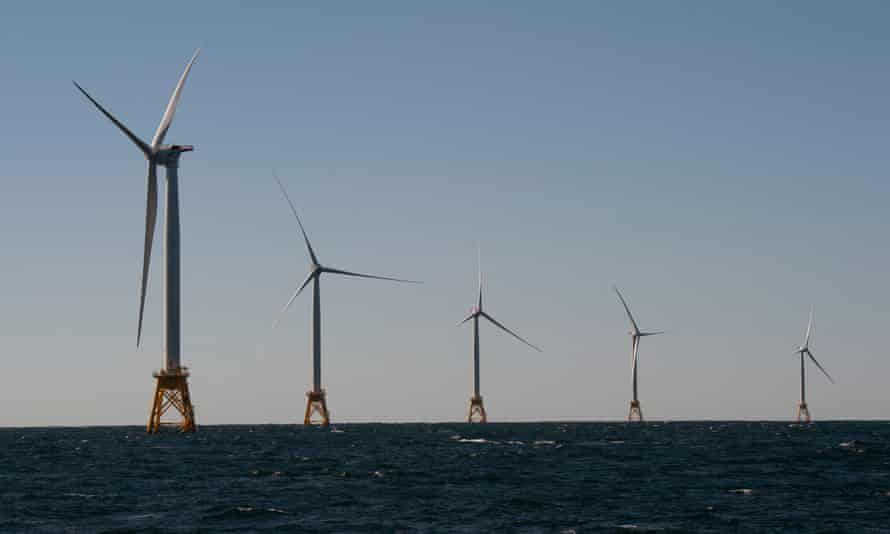 One of two existing US offshore windfarms, at Block Island, Rhode Island.