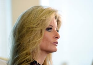 Summer Zervos speaks to reporters about allegations of sexual misconduct against Donald Trump.