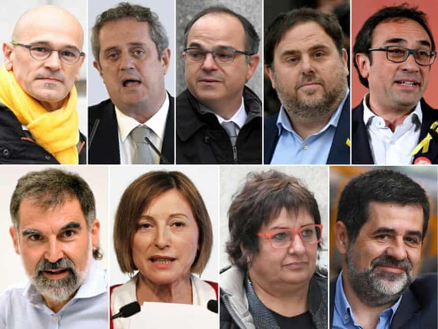 (Top, left to right) Raül Romeva, Joaquim Forn, Jordi Turull, Oriol Junqueras, Josep Rull (Bottom, left to right) Jordi Cuixart, Carme Forcadell, Dolors Bassa and Jordi Sànchez.