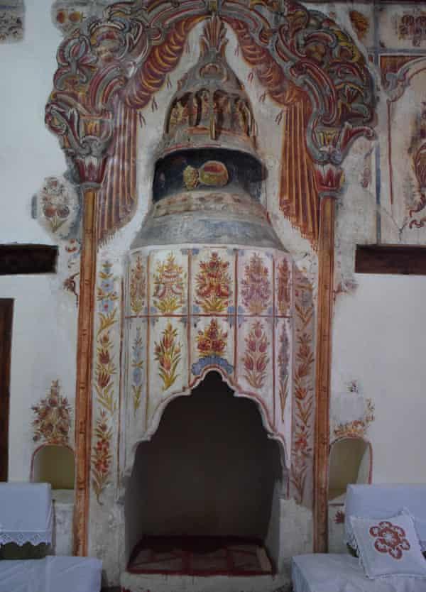 A decorated fireplace inside an Ottoman house in Gjirokastër.
