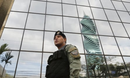 Police outside the Mossack-Fonseca offices in Panama City. The firm's leaked Panama Papers revealed how the world's wealthy and powerful used offshore companies to stash assets.