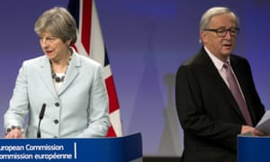 Theresa May and the European commission president, Jean-Claude Juncker.