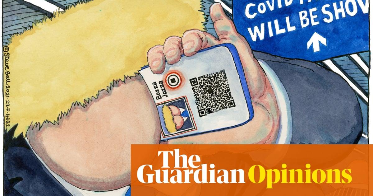 Steve Bell on Boris Johnson's plan for Covid passports — cartoon