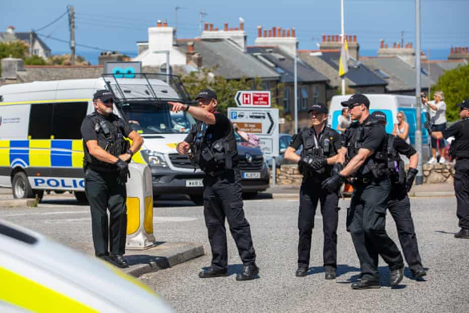 Officers respond to an unexpected protest in St Ives.