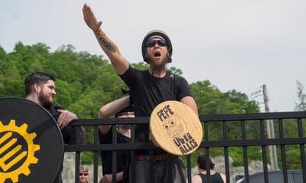 A neo-Nazi demonstrator in Pikeville.