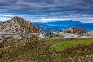 View on mountain near Mirador de La Reina at Covadonga, Picos de Europa National Park, Asturias, Northern Spain