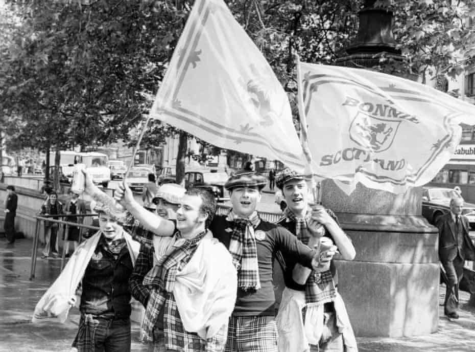 Members of the Tartan Army in Trafalgar Square, prior to a match between England and Scotland in May 1981.