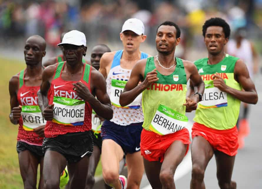 Eliud Kipchoge, second from left, at the 2016 Olympics in Rio.