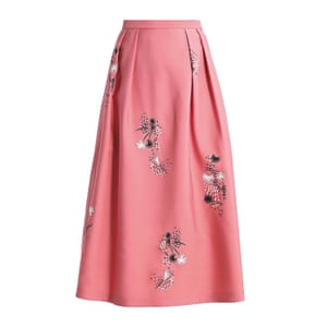 long pink skirt with black and white floral pattern L K bennett
