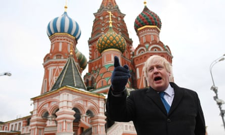 Johnson stands in Red Square, Moscow, in December 2017.