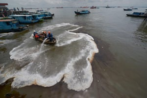The cleanup operation gathers pace. The spill was caused by a ruptured undersea pipe