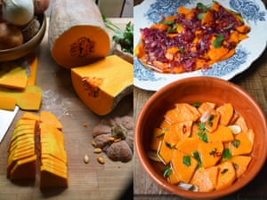Sweet-and-sour pumpkin dishes from (top right) Sicily and (bottom) Roman style.