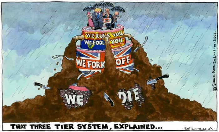 Steve Bell on the UK's three-tiered Covid restrictions — cartoon | Opinion  | The Guardian