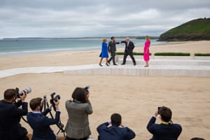 The Johnsons greet the president of France, Emmanuel Macron, and his wife, Brigitte