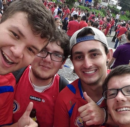 Daniel Villalta with friends after watching Costa Rica beat Italy 1-0 in 2014.