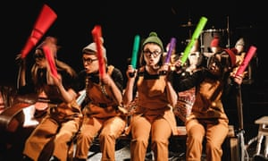 A performance by the puppet cabaret group Tsesho at the Dakh theatre in Kiev.