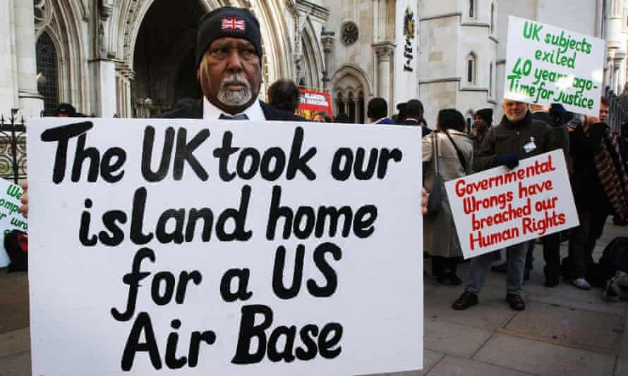 Chagos islanders protesting outside the high court in London in 2019.