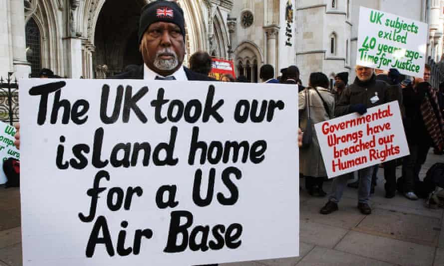 Chagos islanders outside the High Court