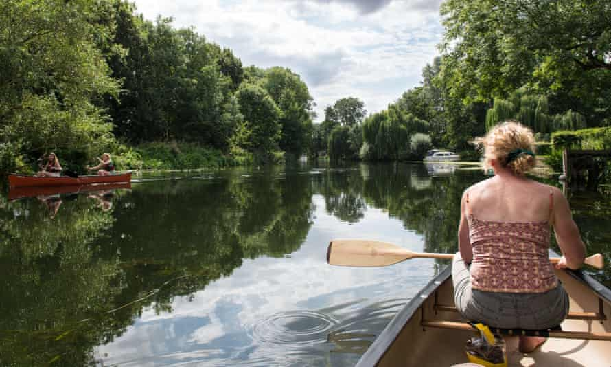 Canoeing on the river Nene.