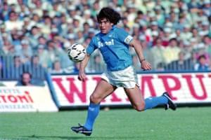 Diego Maradona of Napoli in action for Napoli against Fiorentina in 1987