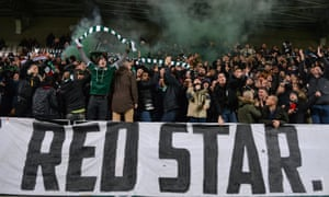 Red Star fans cheering on their team against Valenciennes in December 2016.