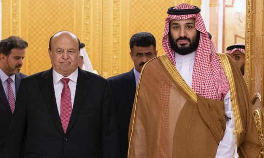 The Yemeni president, Abd Rabbu Mansour Hadi, and the Saudi crown prince, Mohammed bin Salman