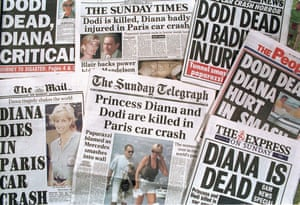 Newspaper headlines announcing the death of Princess Diana And Dodi Fayed