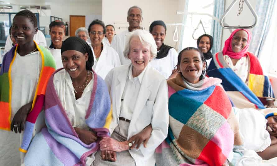 Catherine Hamlin with patients and staff in Addis Ababa, Ethiopia, in 2012.