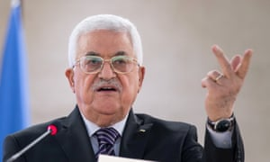 Mahmoud Abbas delivers a speech during a special meeting of the UN human rights council.