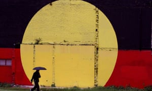 Indigenous flag painted on a wall in Redfern