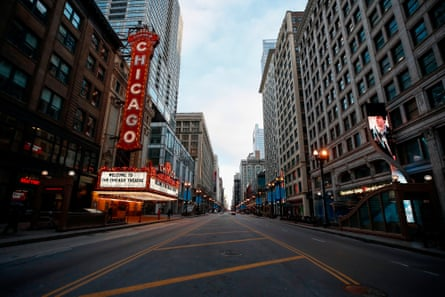 Closed Chicago theater in Chicago in March. Almost 1 billion people were confined to their homes worldwide in March as the global coronavirus death toll topped 12,000 and US states rolled out stay-at-home measures already imposed across swathes of Europe.