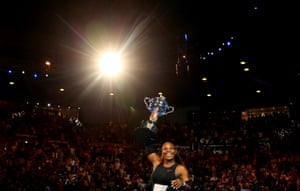 Serena Williams after winning the women's singles final against her sister Venus, a record 23rd Grand Slam singles title