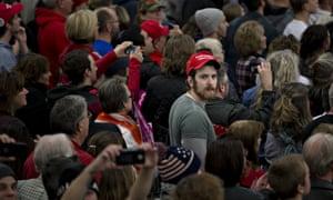 Attendees listen as Donald Trump speaks in West Allis, Wisconsin.