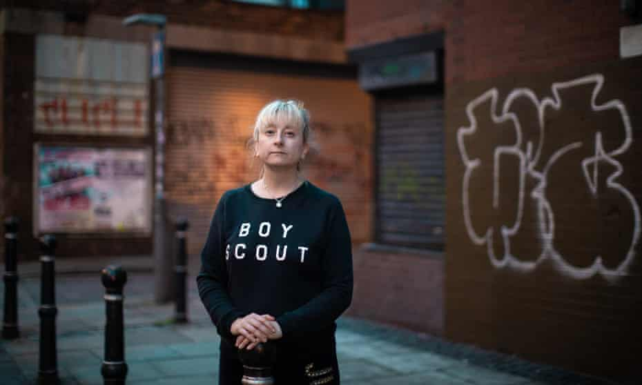Michelle Langan of the Paper Cup Project, on the streets of Liverpool city centre, close to where Aimee died .