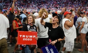 """Supporters chant """"fake news"""" as Trump speaks in Orlando"""