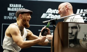 53c2b5f721 Conor McGregor greets UFC president Dana White during Thursday s press  conference ahead of UFC 229. Photograph  Isaac Brekken Getty Images