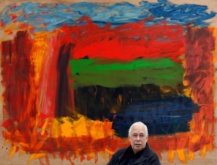 Howard Hodgkin in front of Home, Home on the Range at his 2008 Gagosian exhibition.