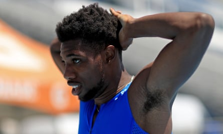 Noah Lyles recovers after finishing his solo 200m race at the Inspiration Games in Florida.