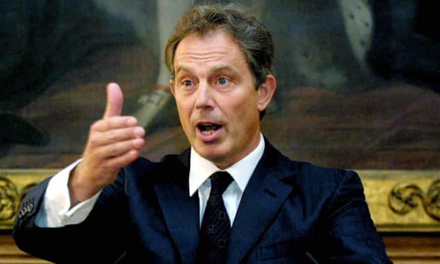 Prime minister Tony Blair answers questions at a press conference in 2001.