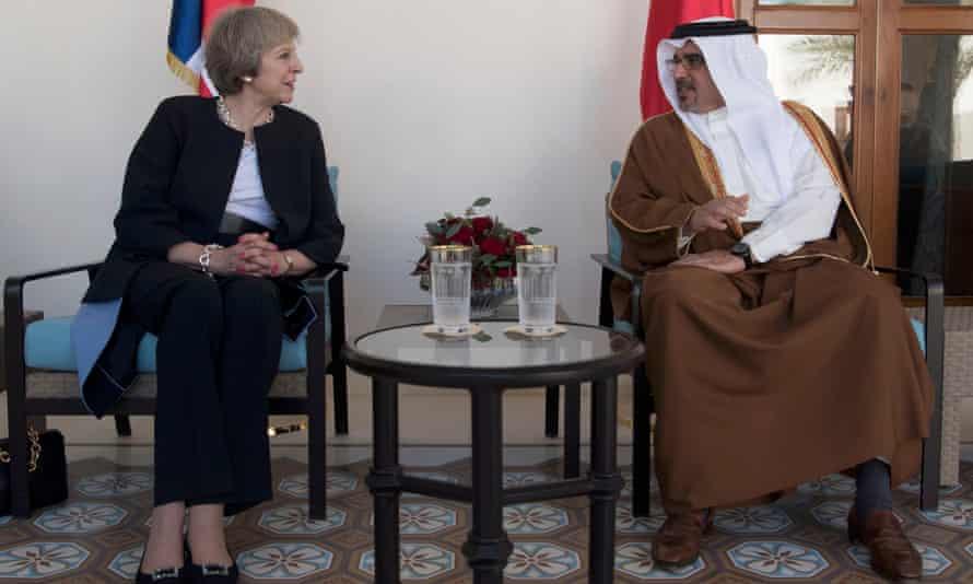 Theresa May meets Prince Salman bin Hamad bin Isa Al Khalifa, the Crown Prince of Bahrain, in Manama on Monday.