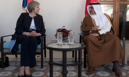 Theresa May meets Prince Salman bin Hamad bin Isa Al Khalifa, the Crown Prince of Bahrain, in Manama on Monday.