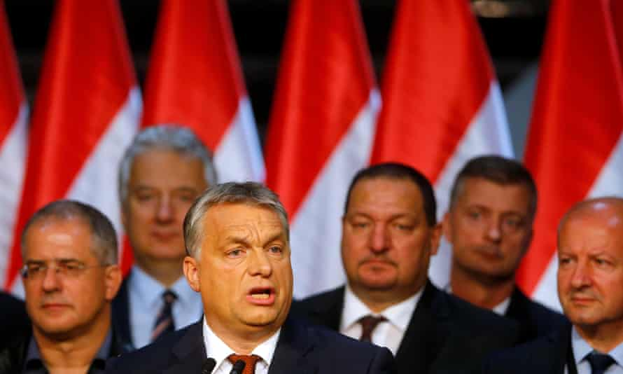 Hungarian Prime Minister Viktor Orban delivers a speech after a referendum.
