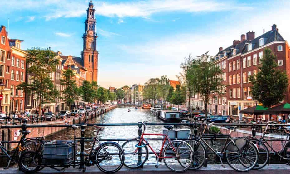 bridge canal and bikes, amsterdam
